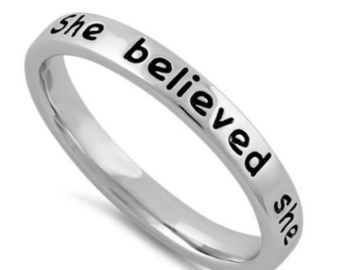 Sterling Silver Stackable Ring She Believed She Could So She Did