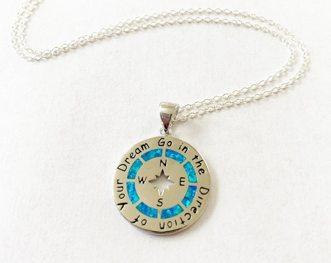 Sterling Silver Layering Blue Opal Compass Necklace Go In The Direction Of Your Dream