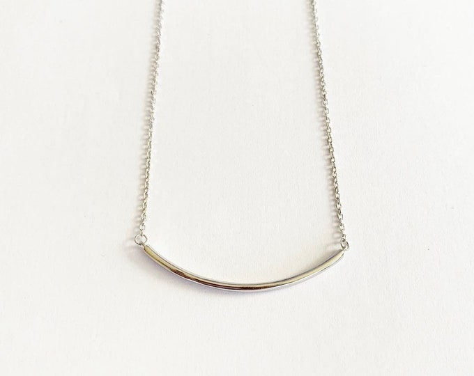 Sterling Silver Curved Bar Layering Necklace