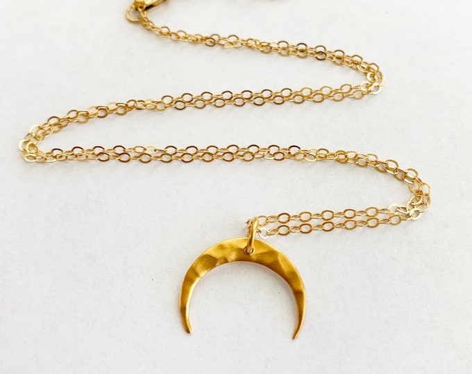 Gold Filled Sterling Silver Crescent Moon Necklace