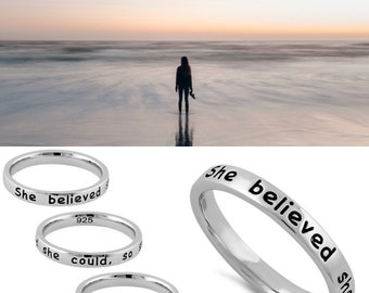 She Believed She Could So She Did Sterling Silver Stackable Word Ring