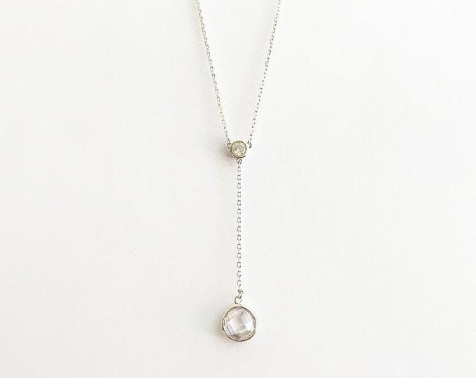Gorgeous CZ Drop Y Lariat Necklace