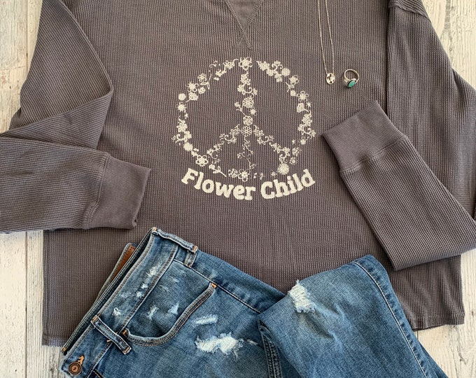 Long Sleeve Gray Flower Child Peace Shirt