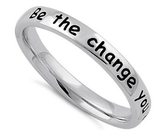 Sterling Silver Stackable Be The Change Ring