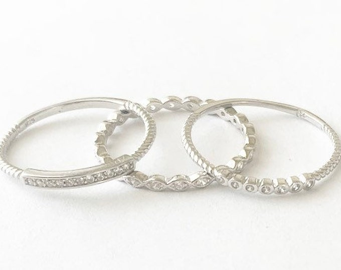 Sterling Silver Stackable Trio Rings With Sparkling CZ