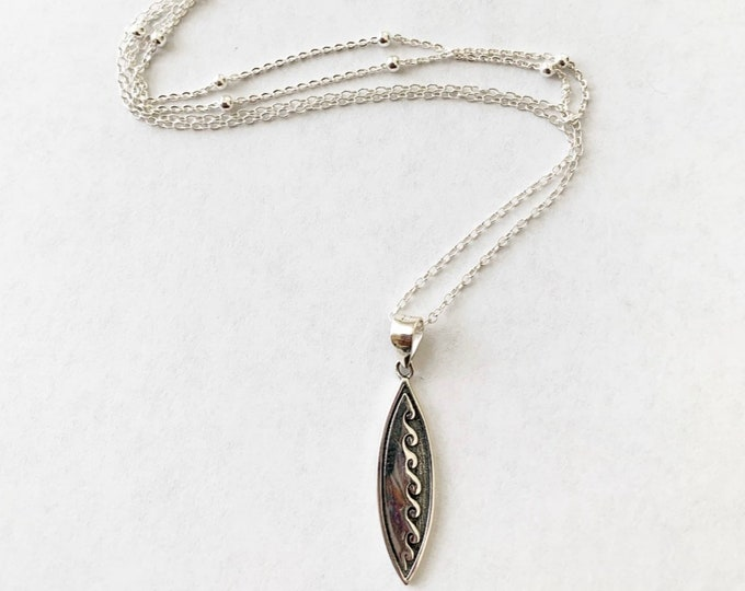 Sterling Silver Layered Wave Surfboard Necklace