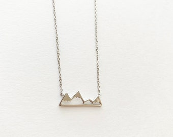 Sterling Silver Mountain Silhouette Necklace