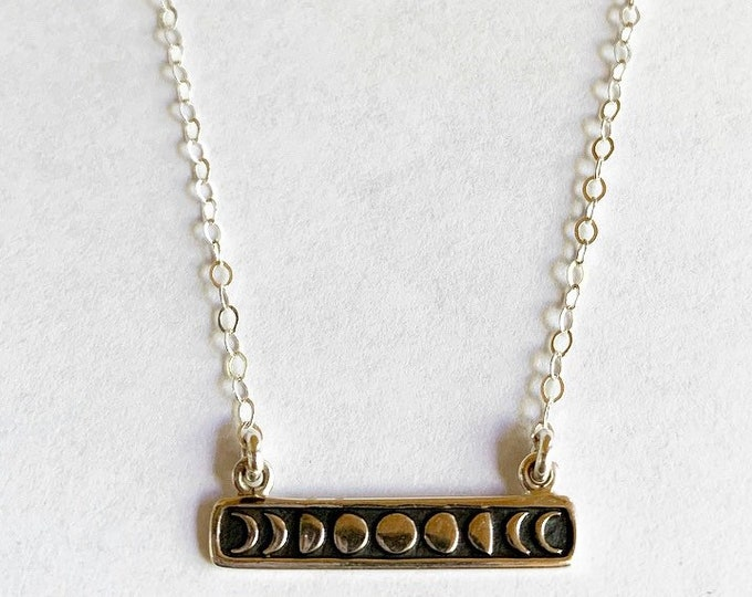 Short Sterling Silver Moon Phase Bar Necklace