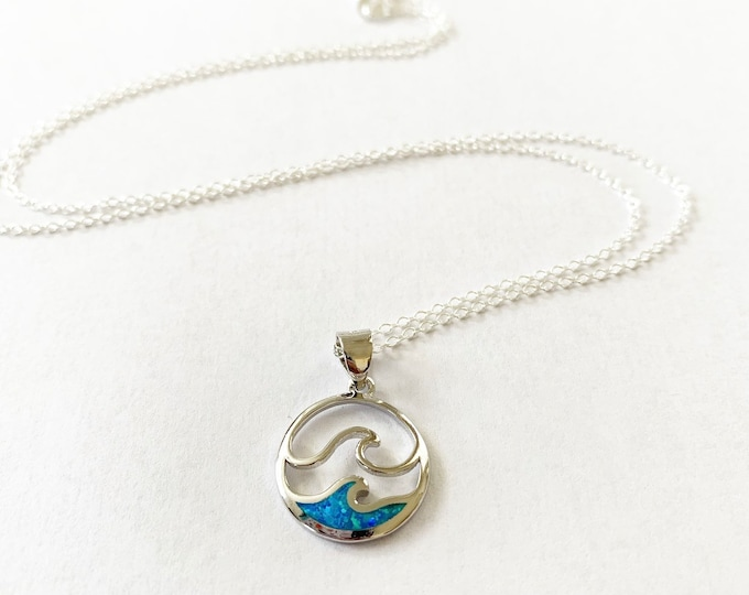 Sterling Silver Double Wave Blue Opal Layering Necklace