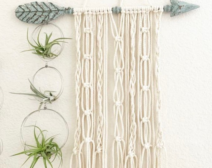 Blue Arrow Macrame Wall Hanger Home Office Room Decor
