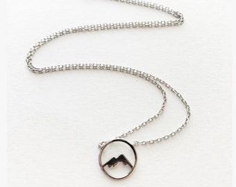 Tiny Dainty Circle Mountain Necklace