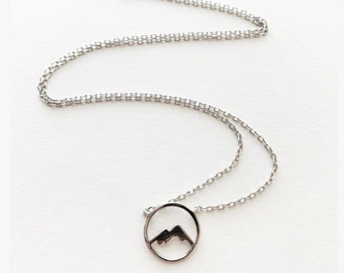 Tiny Dainty Circle Mountain Necklace
