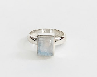 Sterling Silver Square Moonstone Ring