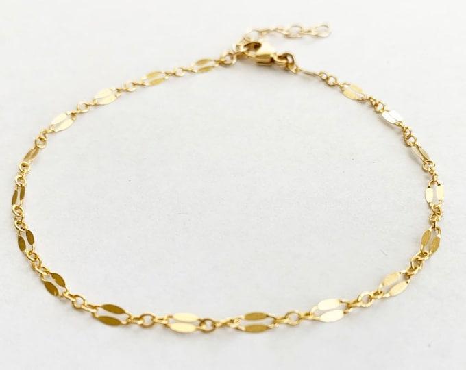 Gold Filled Sterling Silver Chain Link Bar Bracelet