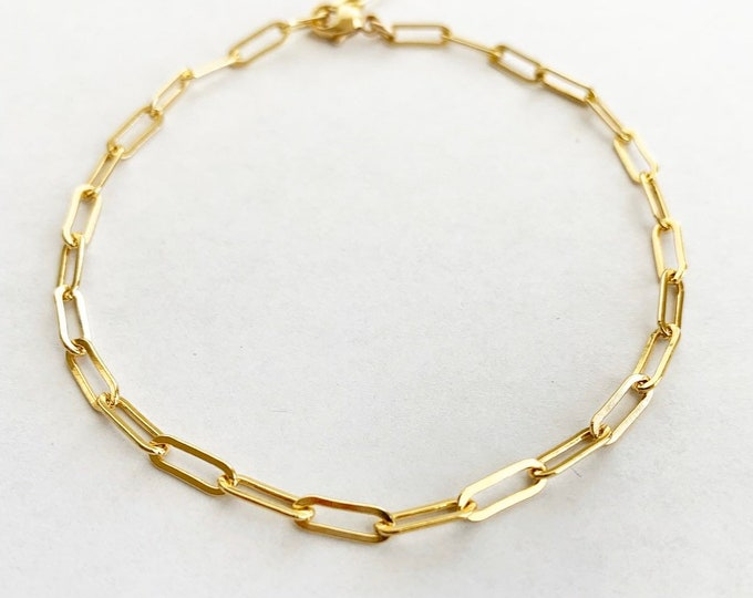 Small Gold Filled Sterling Silver Paper Clip Style Bracelet
