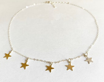 Sterling Silver Stars Choker