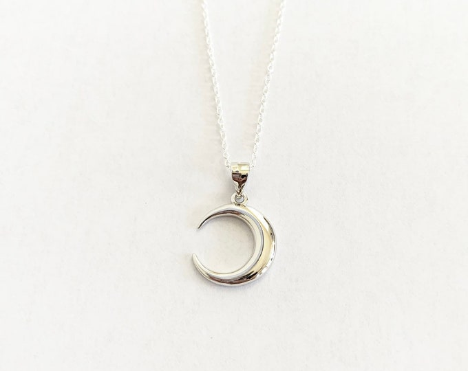 Sterling Silver Crescent Moon Layering Necklace