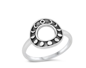 Sterling Silver Moon Phase Circle Ring