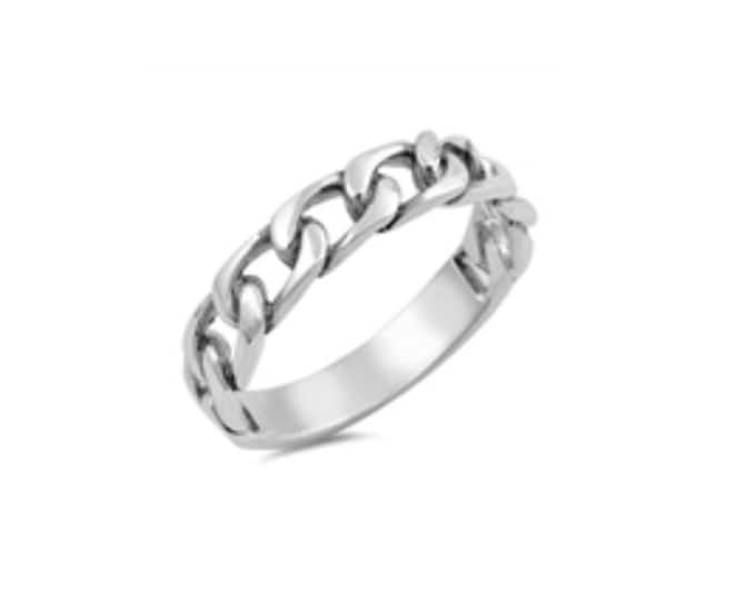 Sterling Silver Stackable Chain Ring