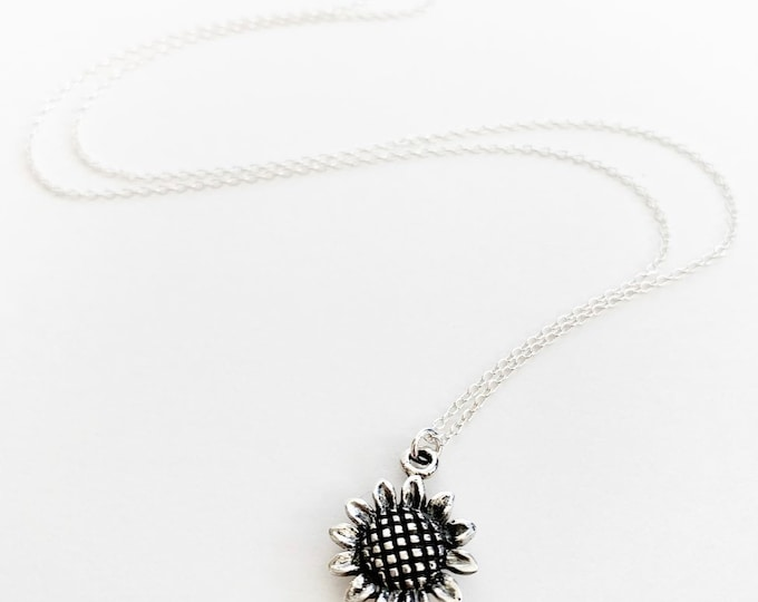 Sterling Silver Layering Sunflower Charm Necklace