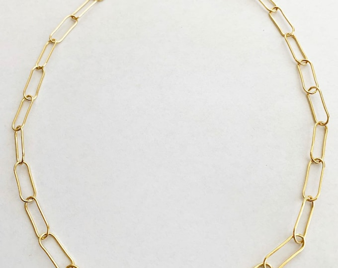 Large Paper Clip Style Gold Filled Sterling Silver Chain Necklace