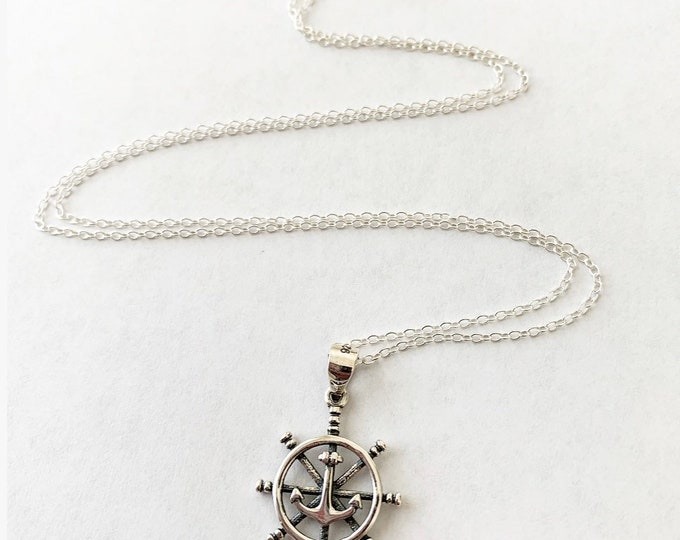 Sterling Silver Nautical Ship Wheel Pendant Charm Necklace