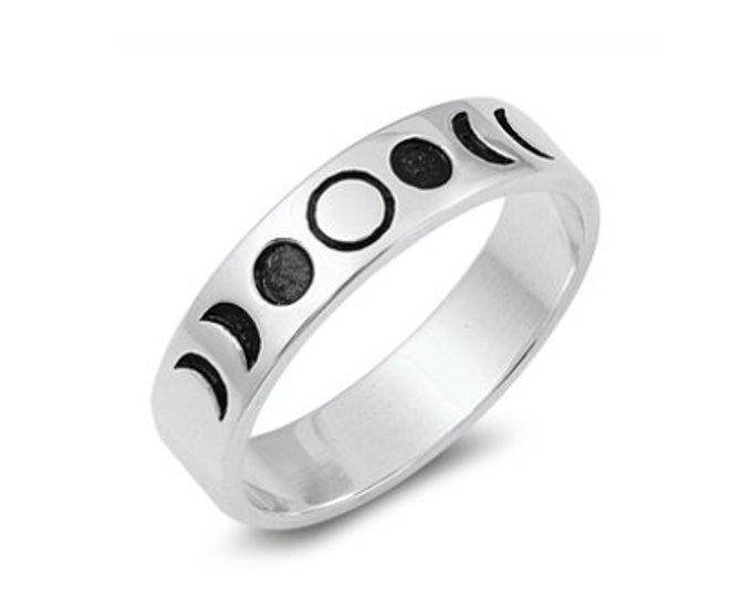 Sterling Silver Moon Phase Band Ring