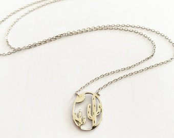 Sterling Silver Cactus and Moon Necklace