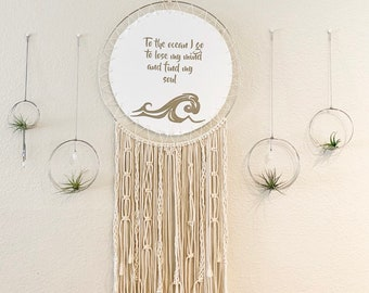 Boho Style Wall Decor With Ocean Quote