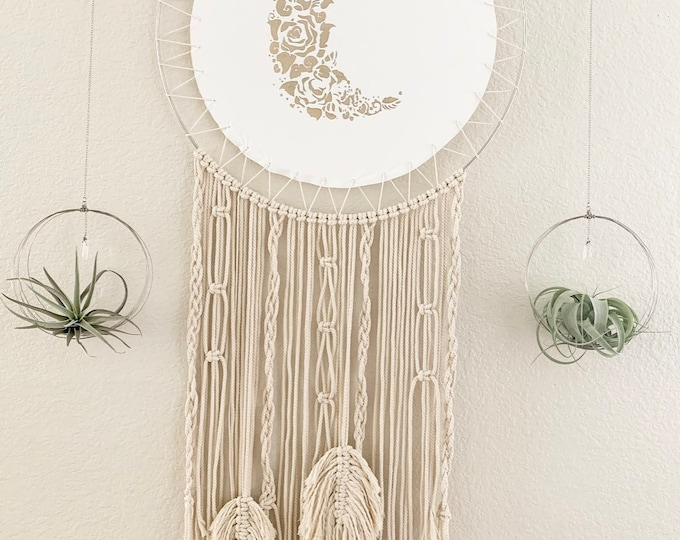 Large Floral Crescent Moon Macrame Wall Art