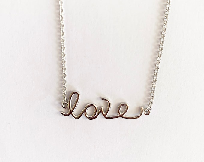 Sterling Silver Love Layering Necklace Valentine's Day Gift