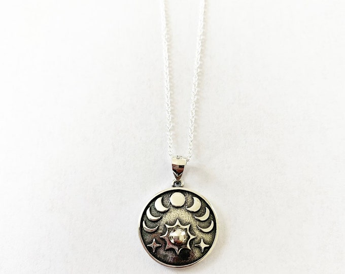 Boho Style Sterling Silver Moon Phase Sun And Stars Layering Necklace