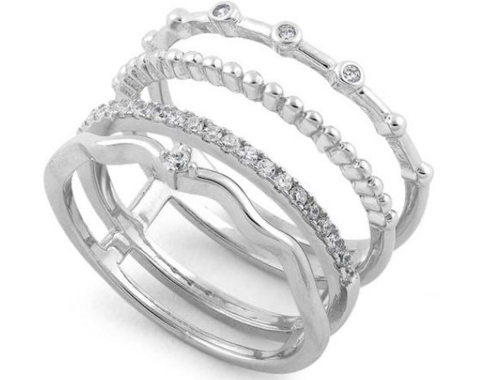 CZ Sparkling Sterling Silver Stackable Ring