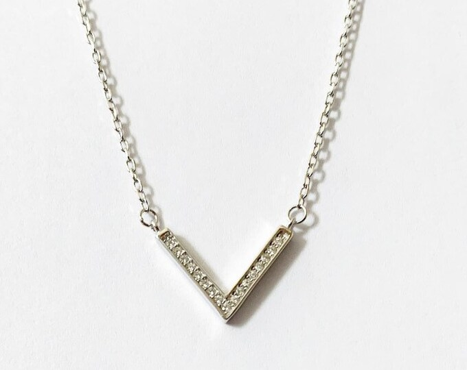 Sterling Silver CZ Arrow V Chevron Layering Necklace