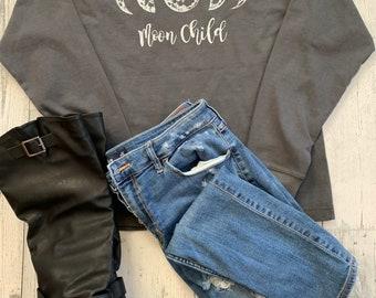 Grey Moon Phase Moon Child Pull Over Sweatshirt