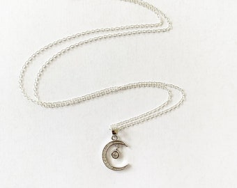 Sterling Silver CZ Crescent Moon Necklace