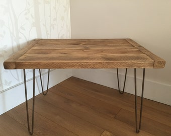 Reclaimed Pine Rustic Coffee Table Solid Wood Metal Hairpin Legs