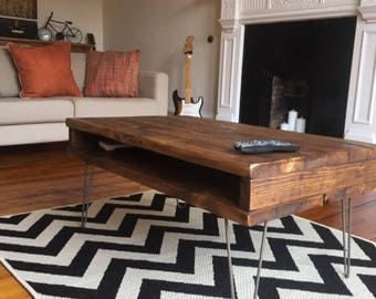 Reclaimed Pine Rustic Box Coffee Table / TV Stand Solid Wood Metal Hairpin Legs