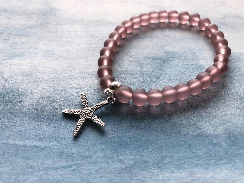 Starfish Bracelet Sea Glass Stretch Charm Bracelet Beaded Bracelet Gift for Her Stretch Bracelet Boho Bracelet Beach Bracelet