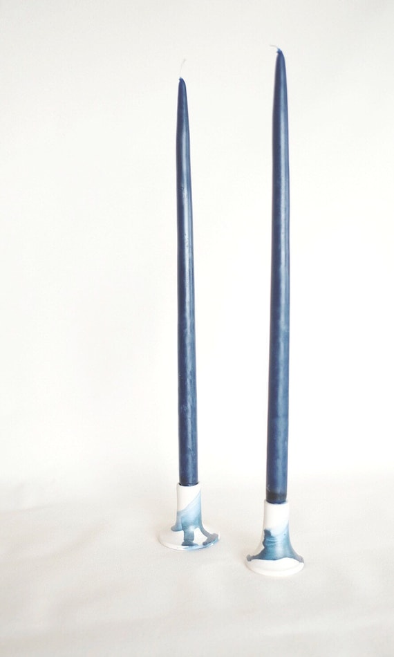 Brushed Blue Candlestick
