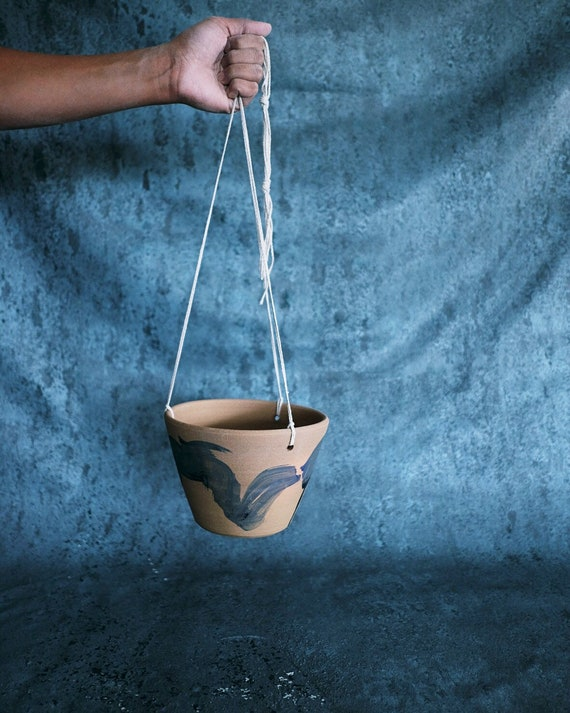 Brushed Blue Hanging Planter