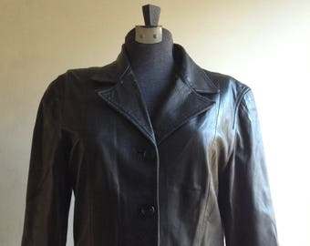 Vintage leather jacket - Italian leather jacket - Black leather jacket - Women's leather jacket - Size 44 EU - Made in Italy