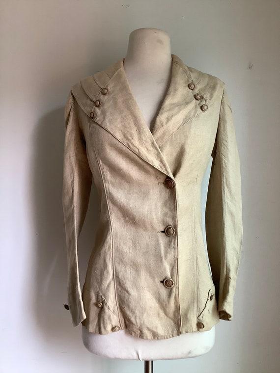 Antique jacket - antique linen jacket - Edwardian