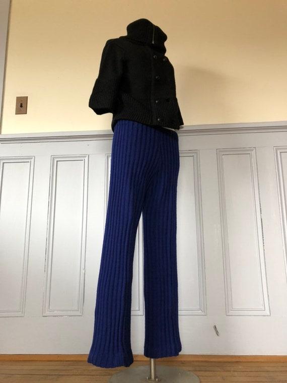 1970s blue wool pants - 1970s pants - vintage knit