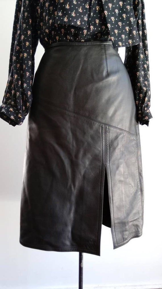 1980s Jean Muir - vintage leather skirt - black le