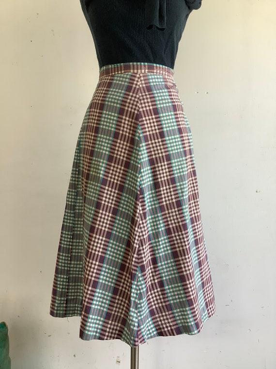 Vintage cotton skirt - 1940s checkered skirt - vin