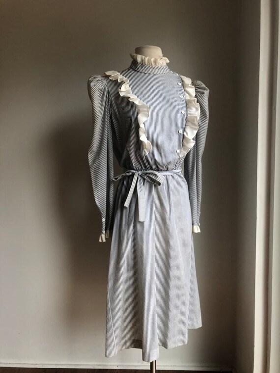 Vintage dress - cotton dress - striped dress - 19… - image 2
