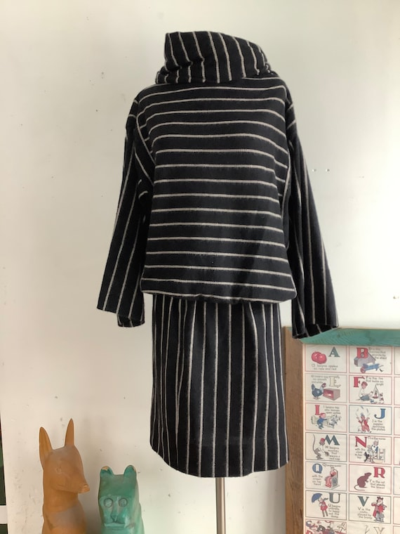 Vintage two piece set - 1970s set - striped dress