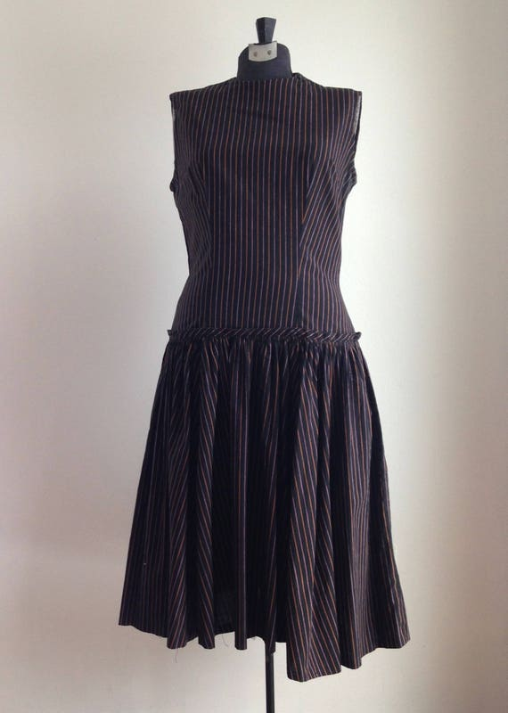 Vintage 1950s dress - Vintage pinstripe dress - Vi