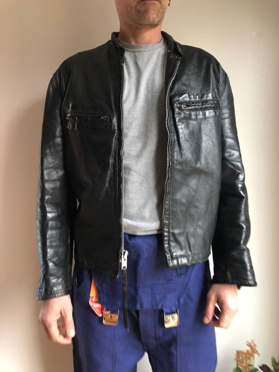 Vintage motorcycle jacket - vintage leather jacket